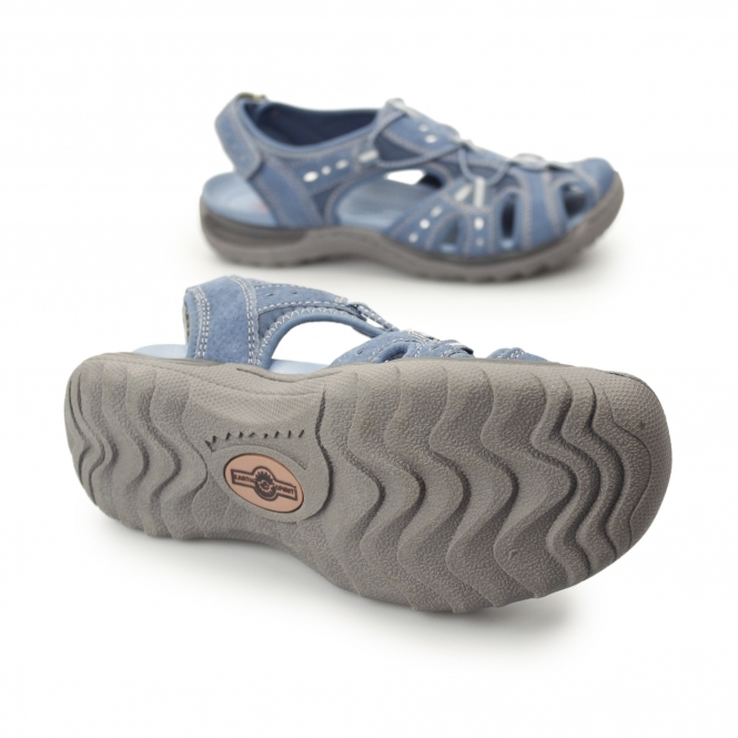 26fc7adc59c9f0 Earth Spirit TEXAS Ladies Leather Touch Fasten Sandal Shoes Blue