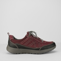 TOPEKA Ladies Leather Lace Up Walking Shoes Merlot