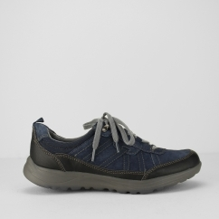 TOPEKA Ladies Leather Lace Up Walking Shoes Navy