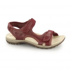 TYLER Ladies Leather Touch Fasten Sandals Bordeaux