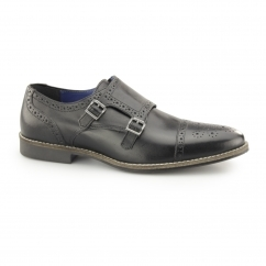 EATON Mens Leather Brogue Monkstrap Shoes Black