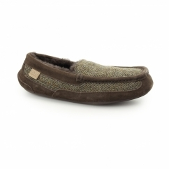 EATON Mens Sheepskin Moccasin Slippers Tweed