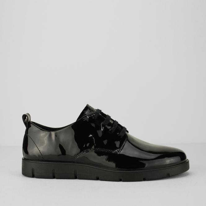 006b8c58868d ECCO BELLA Ladies Leather Casual Lace Up Shoes Black Patent