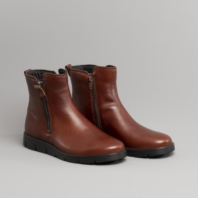 6c7b5492 BELLA Ladies Leather Zip Up Boots Cognac