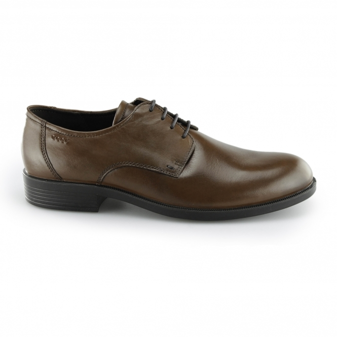 ECCO HAROLD Mens Leather Derby Lace Up Shoes Cognac