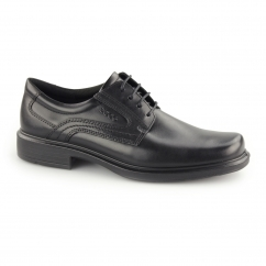HELSINKI Mens Leather Lace Up Derby Shoes Black