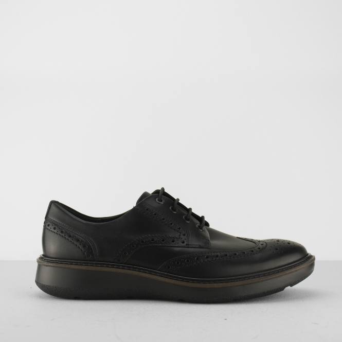 ECCO LHASA Mens Leather Derby Brogue Shoes Black