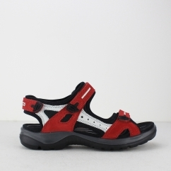 ECCO OFFROAD Ladies Leather Touch Fasten Sandals Red/Grey