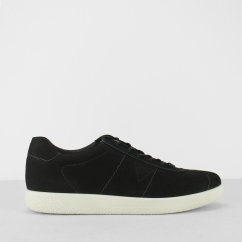 SOFT 1 Mens Leather Lace Up Comfort Trainers Black Nubuck