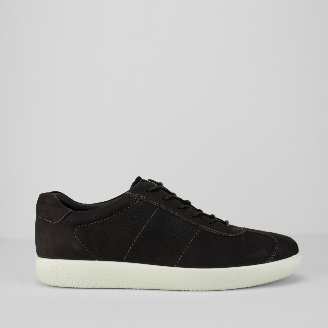 ECCO SOFT 1 Mens Leather Lace Up Comfort Trainers Coffee