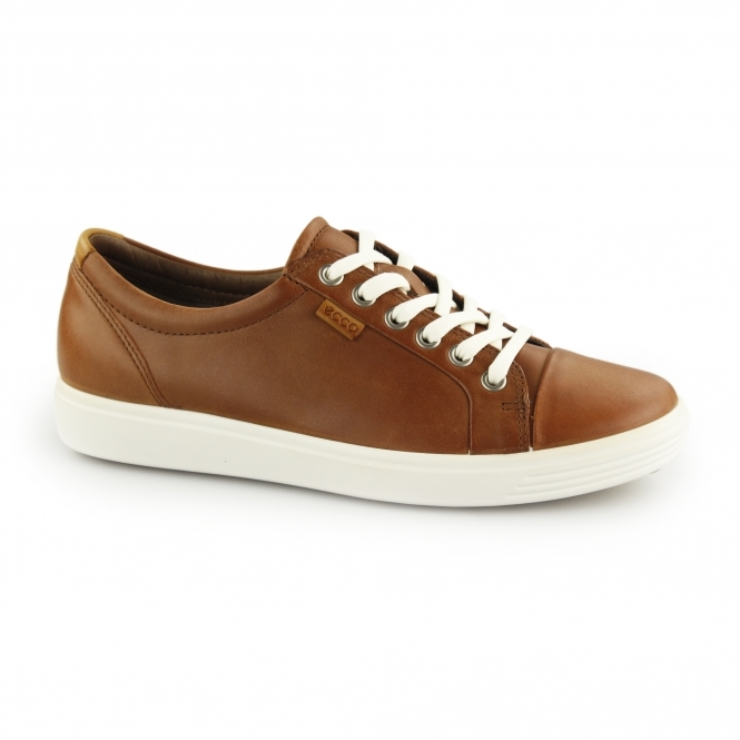 9dd51a28ef80d ECCO SOFT 7 Ladies Leather Lace Up Casual Trainers Mahogany | Shuperb