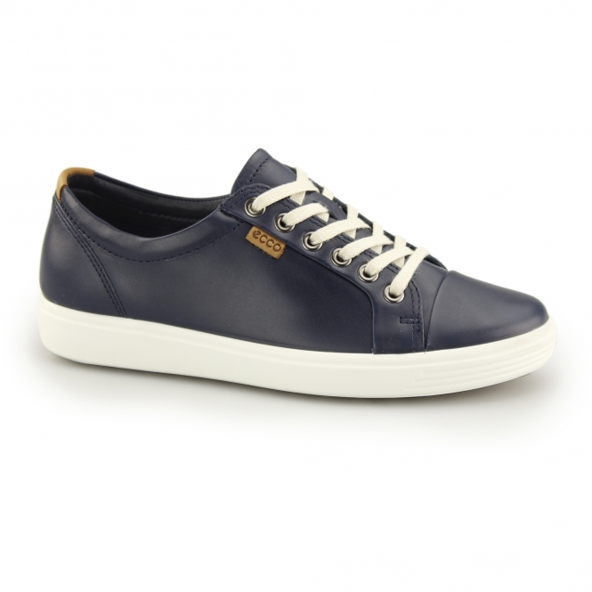 a26bd98abab80 ECCO SOFT 7 Ladies Leather Lace Up Casual Trainers Marine | Shuperb