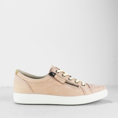 aa4eb2cba2a ECCO SOFT 7 Ladies Leather Zip Casual Trainers Rose Dust