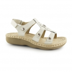 EDISON Ladies Leather Touch Fasten Heeled Sandals Sand White
