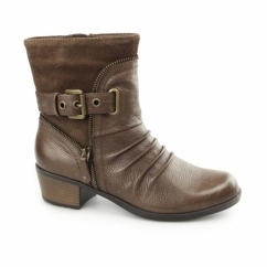 EDMUND Ladies Side Zip & Buckle Up Ankle Boot Bark