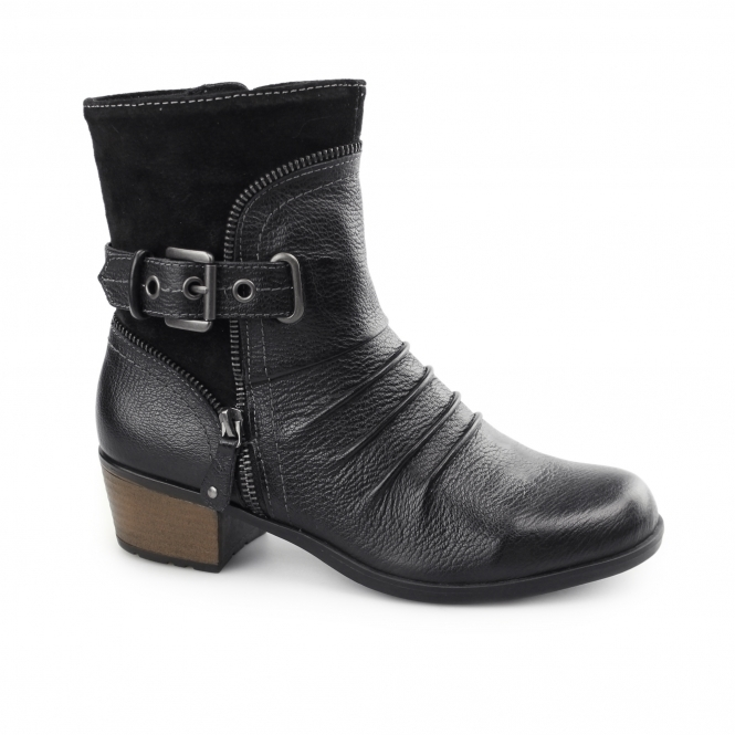 Earth Spirit EDMUND Ladies Side Zip & Buckle Up Ankle Boots Black