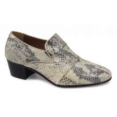 EDUARDO Mens Snakeskin Cuban Heel Shoes Natural