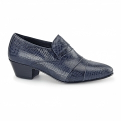 EDUARDO Mens Snakeskin Cuban Heel Shoes Navy