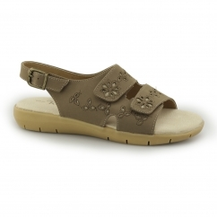 EILEEN Ladies Leather Lined Slingback Buckle Sandals Taupe