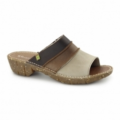 NC91 Ladies Leather Clog Sandals Piedra/Mix