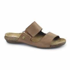 ND75 Ladies Leather Velcro Sandals Wood
