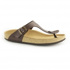 WARAJI NE59 Ladies Vegan Toe-Post Sandals Brown