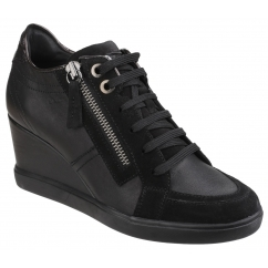 ELENI Ladies Leather Zip Up Heeled Trainer Shoes Black