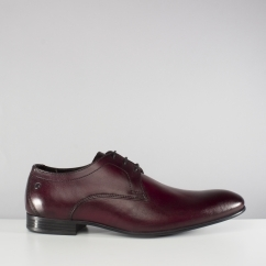 Base London ELGAR Mens Washed Leather Lace Derby Shoes Bordo