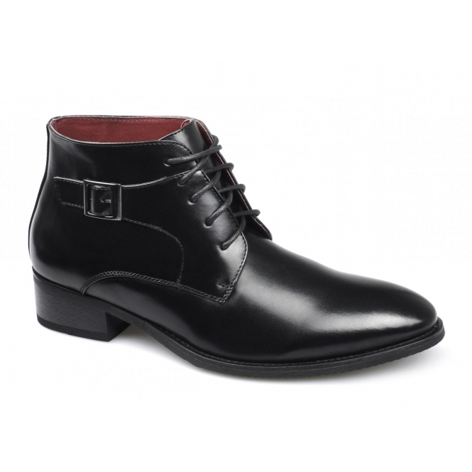 Giovanni ELIAS Mens Lace Up Buckle Chukka Boots Black