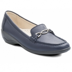 ELLEN Ladies Leather Extra Wide Moccasin Loafers Navy