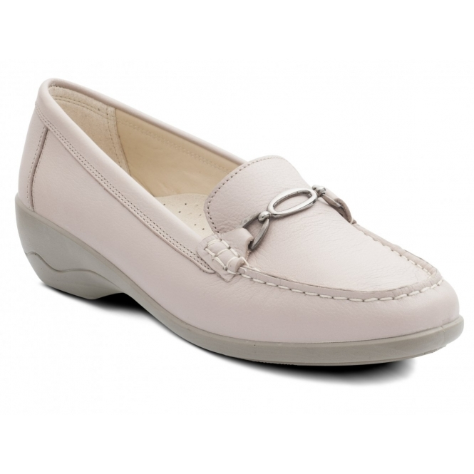 Padders ELLEN Ladies Leather Extra Wide Moccasin Loafers Nude