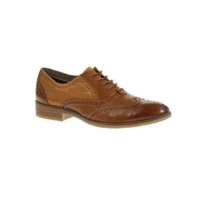 Hush Puppies ELLODIE ELLIS Ladies Wide Fit Oxford Brogue Shoes Cognac