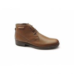 ELWOOD Mens Leather Derby Lace-Up Boots Tan