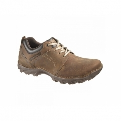 EMERGE Mens Oiled Leather Lace-Up Shoes Dark Beige