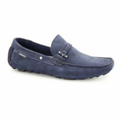 EMERSON Mens Nubuck Penny Driving Loafers Navy
