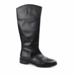 EMILIA Ladies Leather Brogue Tall Boots Black
