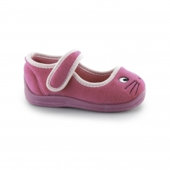 EMMA Girls Touch Fasten Cat Slippers Pink