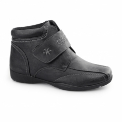 EMMA Ladies Touch Fasten Ankle Boots Black