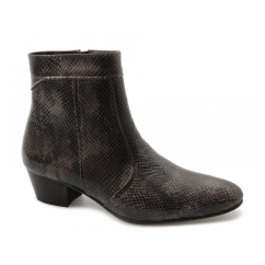 EMMANUEL Mens Snakeskin Leather Cuban Heel Boots Brown