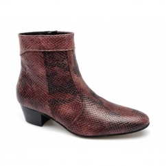 EMMANUEL Mens Snakeskin Leather Cuban Heel Boots Red