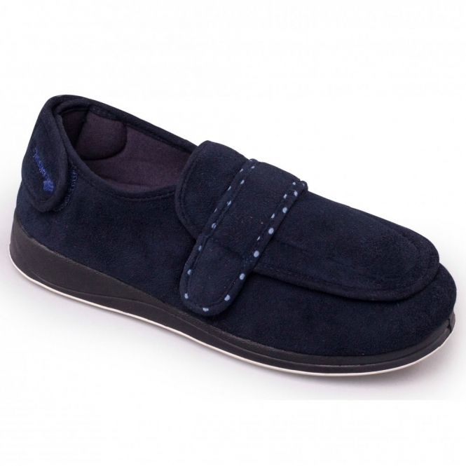 Padders ENFOLD Ladies Velcro Extra Wide Fit (EE) Slippers Navy