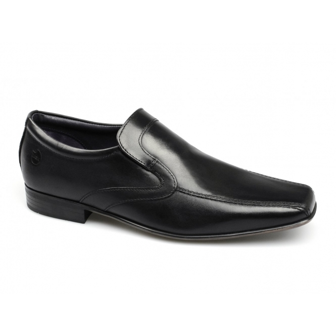 Ikon ENGLISH Mens Leather Slip On Tramline Shoes Black