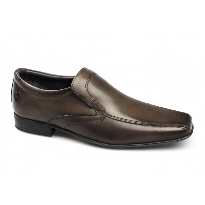 Ikon ENGLISH Mens Leather Slip On Tramline Shoes Brown