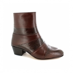 ENRIQUE Mens Cuban Heel Reptile Leather Boots Brown