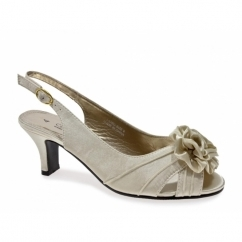 ENYA Ladies Wide E Fit Slingback Satin Shoes Ivory
