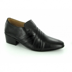 ENZO Mens Soft Leather Pleated Cuban Heel Shoes Black