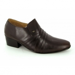 ENZO Mens Soft Leather Pleated Cuban Heel Shoes Brown