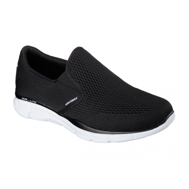 Skechers EQUALIZER-DOUBLE PAY Mens Walking Trainers Black/White