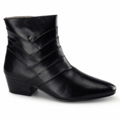 ERNESTO Mens Side Zip Leather Cuban Heel Boots Black