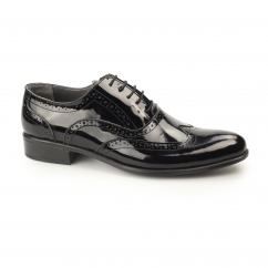 ERNST Mens Patent Leather Brogue Shoes Black